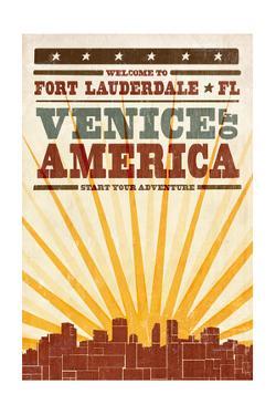 Fort Lauderdale, Florida - Skyline and Sunburst Screenprint Style by Lantern Press