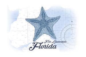 Fort Lauderdale, Florida - Starfish - Blue - Coastal Icon by Lantern Press