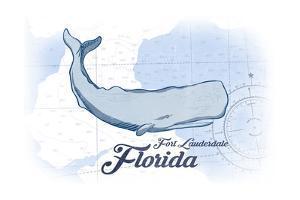 Fort Lauderdale, Florida - Whale - Blue - Coastal Icon by Lantern Press