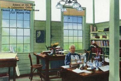 Fort Myers, Florida - T. Edison Winter Home, View of Edison at His Desk in Laboratory Office