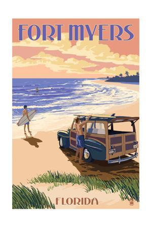 Fort Myers, Florida - Woody on the Beach by Lantern Press