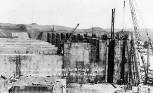 Fort Peck, Montana - Spillway Control Gates & Bridge Construction by Lantern Press