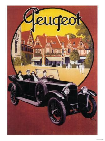 France - Peugeot Automobile Promotional Poster by Lantern Press