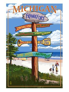 Frankfort, Michigan - Sign Destinations by Lantern Press