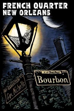 French Quarter - New Orleans, Louisiana - Bourbon Street - Scratchboard by Lantern Press