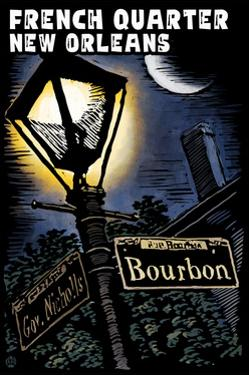 French Quarter - New Orleans, Louisiana - Bourbon Street - Scratchboard by Lantern Press