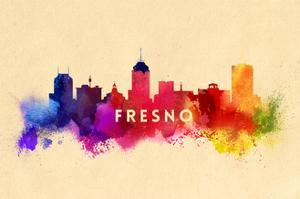 Fresno, California - Skyline Abstract by Lantern Press