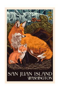 Friday Harbor, San Juan Island, WA - Fox and Kit by Lantern Press
