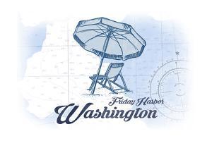 Friday Harbor, Washington - Beach Chair and Umbrella - Blue - Coastal Icon by Lantern Press