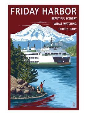 Friday Harbor, Washington - Ferry Scene with Boy by Lantern Press