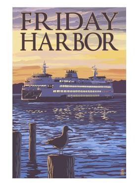 Friday Harbor, Washington - Ferry Sunset and Gull by Lantern Press
