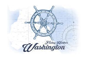 Friday Harbor, Washington - Ship Wheel - Blue - Coastal Icon by Lantern Press