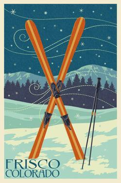 Frisco, Colorado - Crossed Skis by Lantern Press