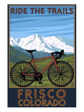 Frisco, Colorado - Mountain Bike and Mountains by Lantern Press