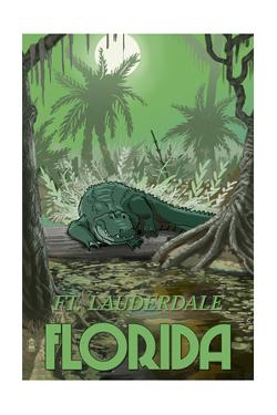 Ft. Lauderdale, Florida - Alligator in Swamp by Lantern Press