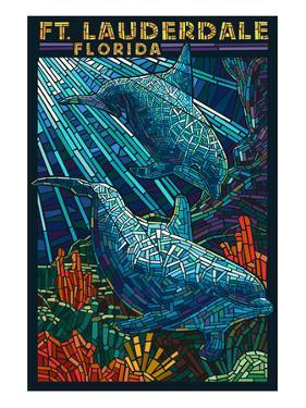 Ft. Lauderdale, Florida - Dolphin Paper Mosaic by Lantern Press