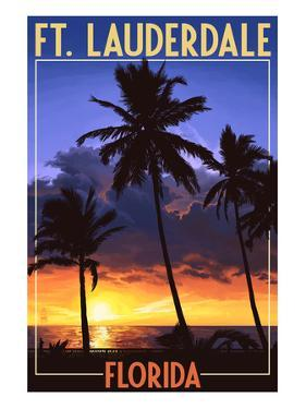 Ft. Lauderdale, Florida - Palms and Sunset by Lantern Press