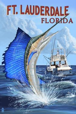 Ft. Lauderdale, Florida - Sailfish Scene by Lantern Press