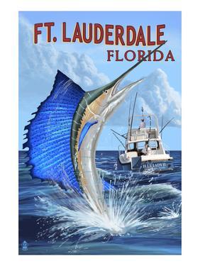 Ft. Lauderdale, Florida - Sailfish Scene by Lantern Press