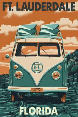 Ft. Lauderdale, Florida - VW Van by Lantern Press