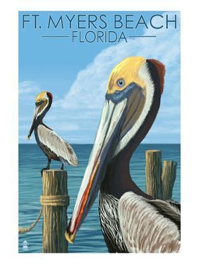Ft. Myers Beach, Florida - Pelicans by Lantern Press
