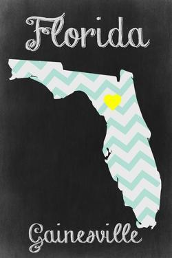 Gainesville, Florida - Chalkboard State Heart by Lantern Press