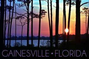 Gainesville, Florida - Sunset and Silhoutte by Lantern Press