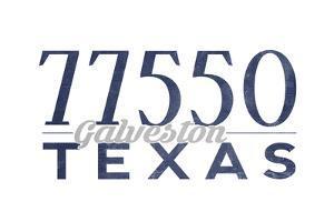 Galveston, Texas - 77550 Zip Code (Blue) by Lantern Press