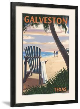 Galveston, Texas - Adirondack Chairs and Sunset by Lantern Press