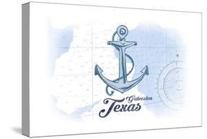 Galveston, Texas - Anchor - Blue - Coastal Icon by Lantern Press