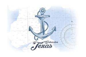 Galveston, Texas - Anchor - Blue - Coastal Icon by Lantern Press