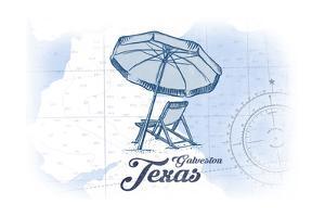 Galveston, Texas - Beach Chair and Umbrella - Blue - Coastal Icon by Lantern Press