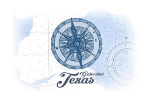 Galveston, Texas - Compass - Blue - Coastal Icon by Lantern Press