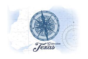 Galveston, Texas - Compass - Blue - Coastal Icon by Lantern Press