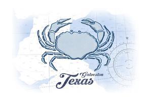 Galveston, Texas - Crab - Blue - Coastal Icon by Lantern Press