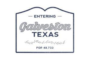 Galveston, Texas - Now Entering (Blue) by Lantern Press