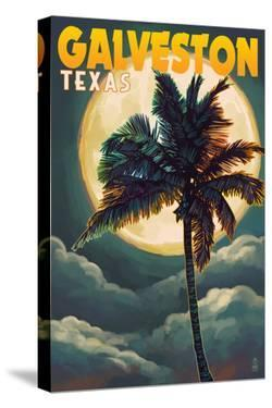 Galveston, Texas - Palm and Moon by Lantern Press