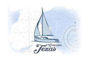 Galveston, Texas - Sailboat - Blue - Coastal Icon by Lantern Press