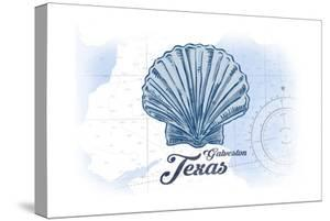Galveston, Texas - Scallop Shell - Blue - Coastal Icon by Lantern Press