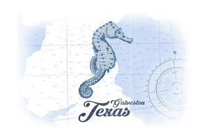 Galveston, Texas - Seahorse - Blue - Coastal Icon by Lantern Press