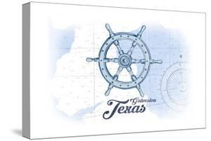 Galveston, Texas - Ship Wheel - Blue - Coastal Icon by Lantern Press
