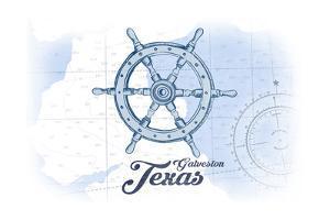 Galveston, Texas - Ship Wheel - Blue - Coastal Icon by Lantern Press