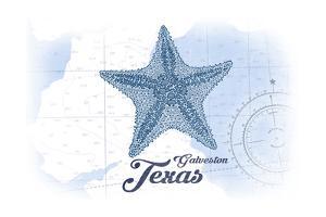 Galveston, Texas - Starfish - Blue - Coastal Icon by Lantern Press