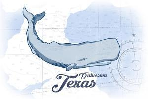 Galveston, Texas - Whale - Blue - Coastal Icon by Lantern Press