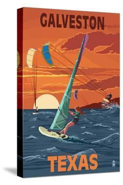 Galveston, Texas - Windsurfers and Sunset by Lantern Press