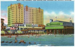 Galveston, Tx - Exterior View of the Buccaneer Hotel, Murdoch's Bath House, Beach Front, c.1947 by Lantern Press