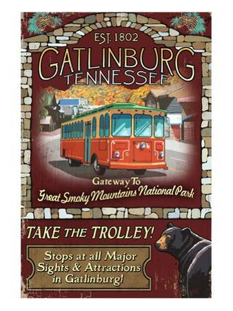Gatlinburg, Tennessee - Trolley by Lantern Press