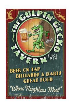 Gecko Tavern - Vintage Sign by Lantern Press