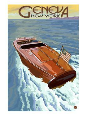 Geneva, New York - Wooden Boat on Lake by Lantern Press