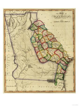 Georgia - Panoramic Map by Lantern Press